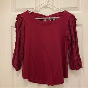 Anthropologie 3/4 Sleeve Top with Lace Sleeves
